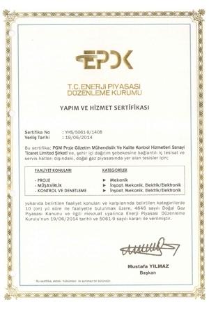 EPDK Yapım ve Hizmet Sertifikamız