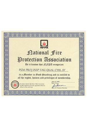 NFPA Üyelik Sertifikamız