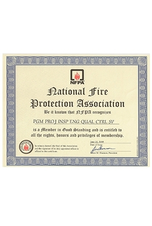 Our NFPA Membership Certificate